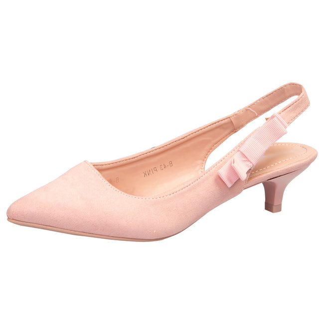 Alora Slingback Pumps in Pink Faux Suede - Feet First Fashion