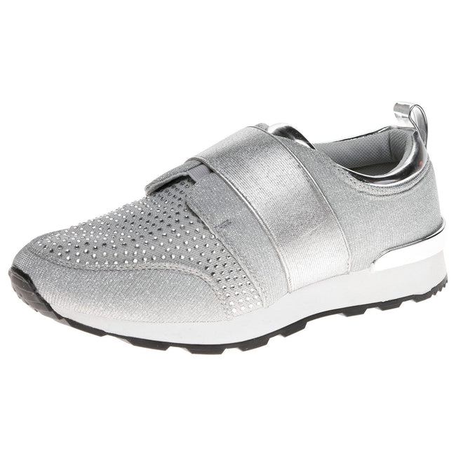 Isabelle Diamante Slip On Trainers in Silver