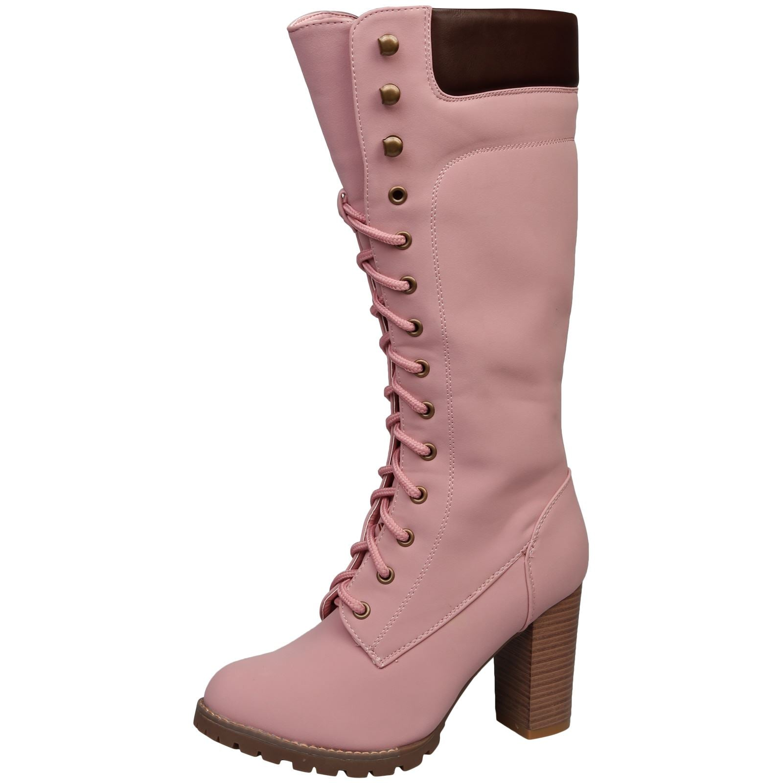 Antonella Lace Up Under Knee Boots in Pink - Feet First Fashion