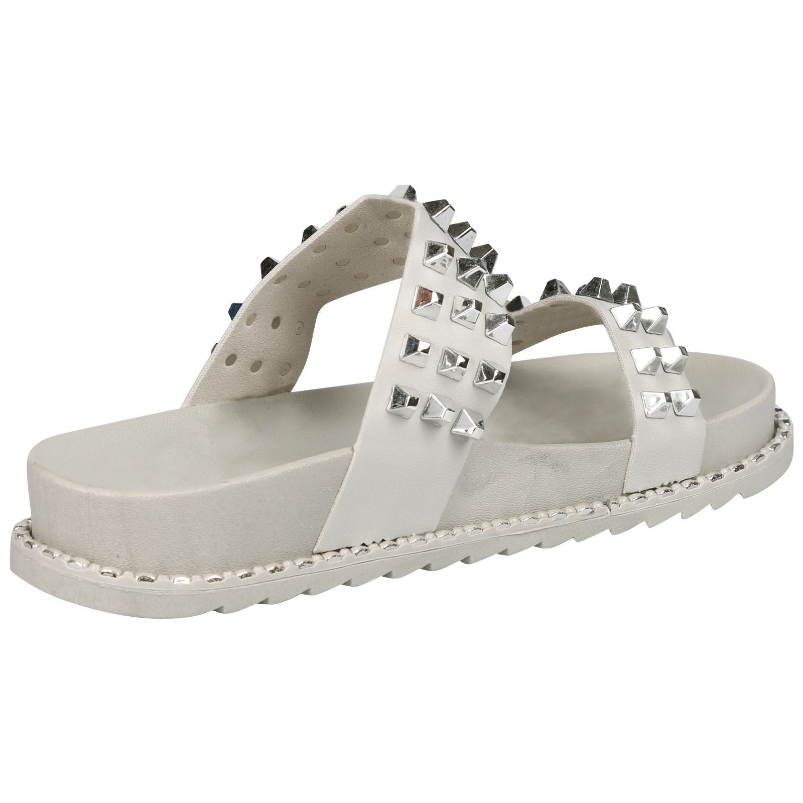 Serena Studded Dual Strap Sliders in Grey Rubber