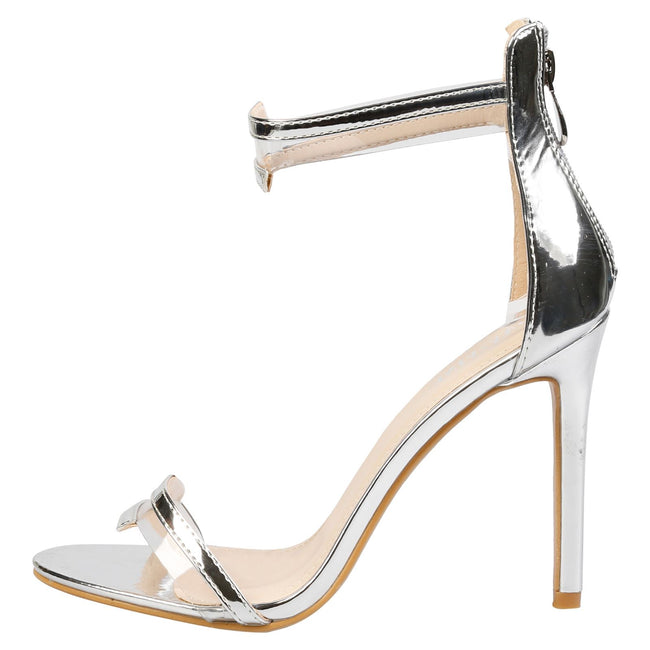 Stella Barely There Stiletto Sandals in Silver Patent