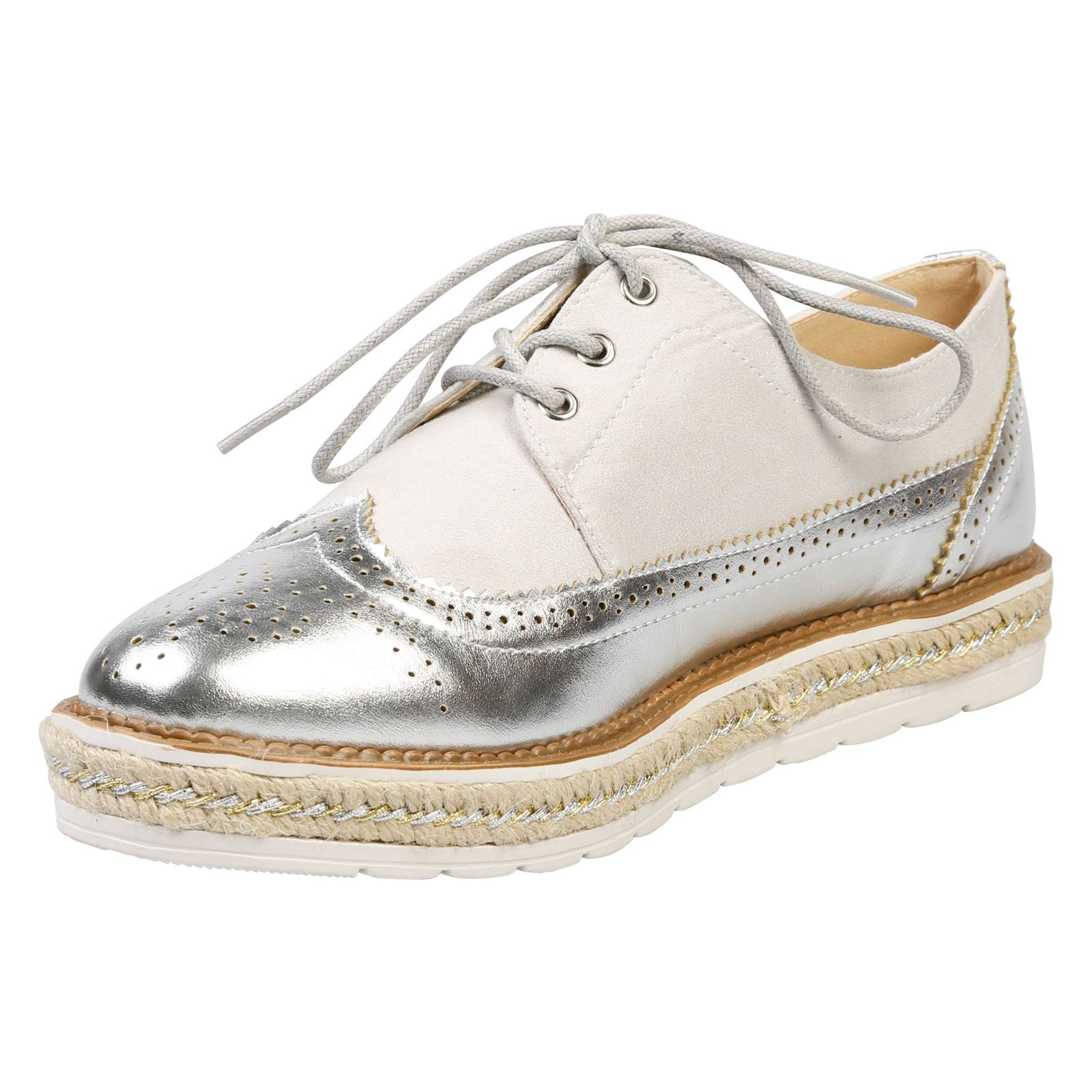 Regina Two Tone Flatform Brogues in Silver & Grey