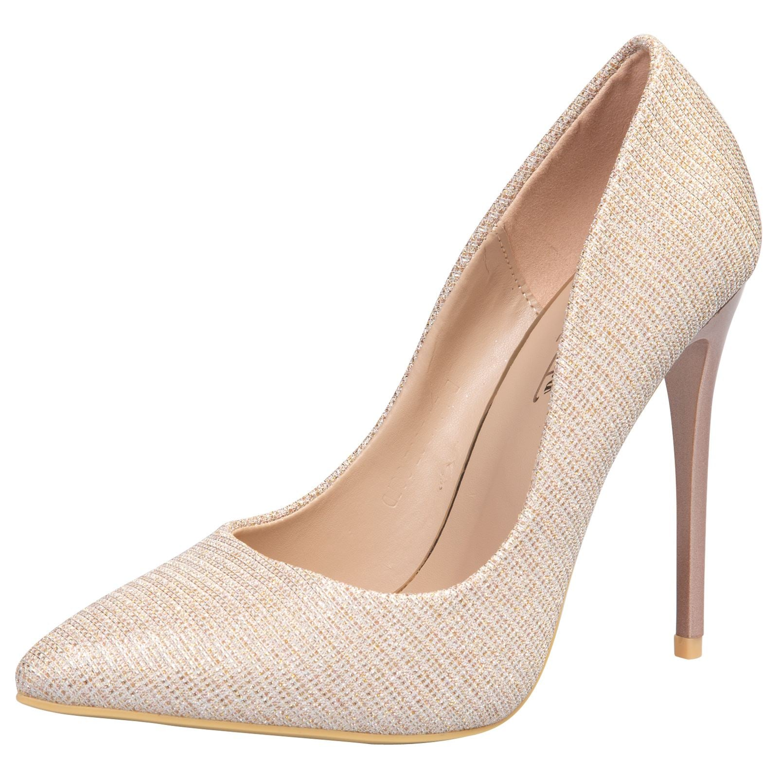 Laverne Pointed Toe Court Shoes in Rose Gold Shimmer