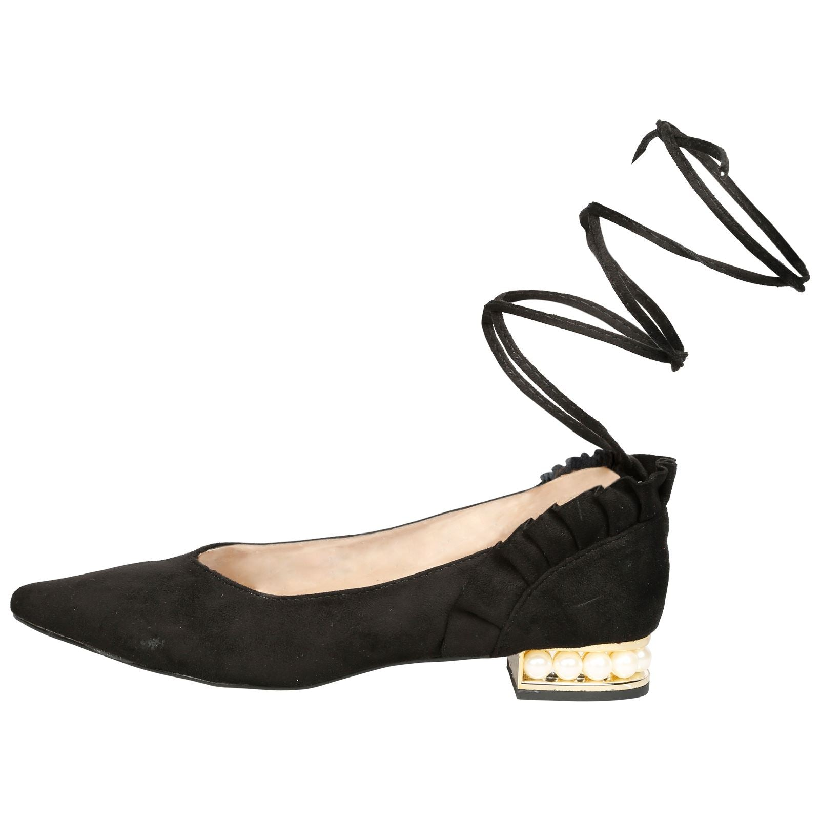 Jaelynn Lace Up Ballerina Flats in Black - Feet First Fashion