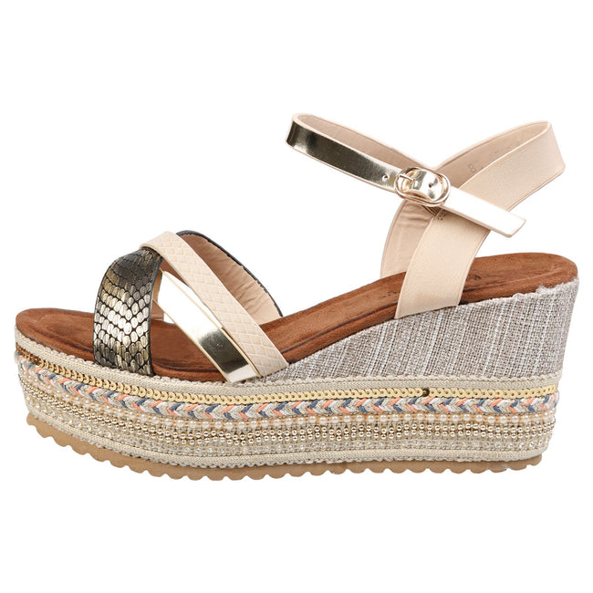Chyna Multi-Strap Platform Sandals in Beige Faux Leather