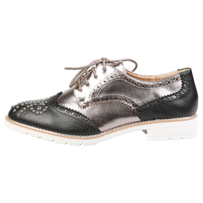 Vashti Two Tone Brogues in Black & Gun Metal