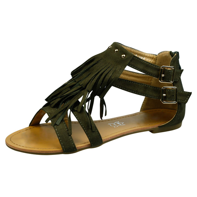 Penny Fringed T Bar Sandals in Olive Faux Suede