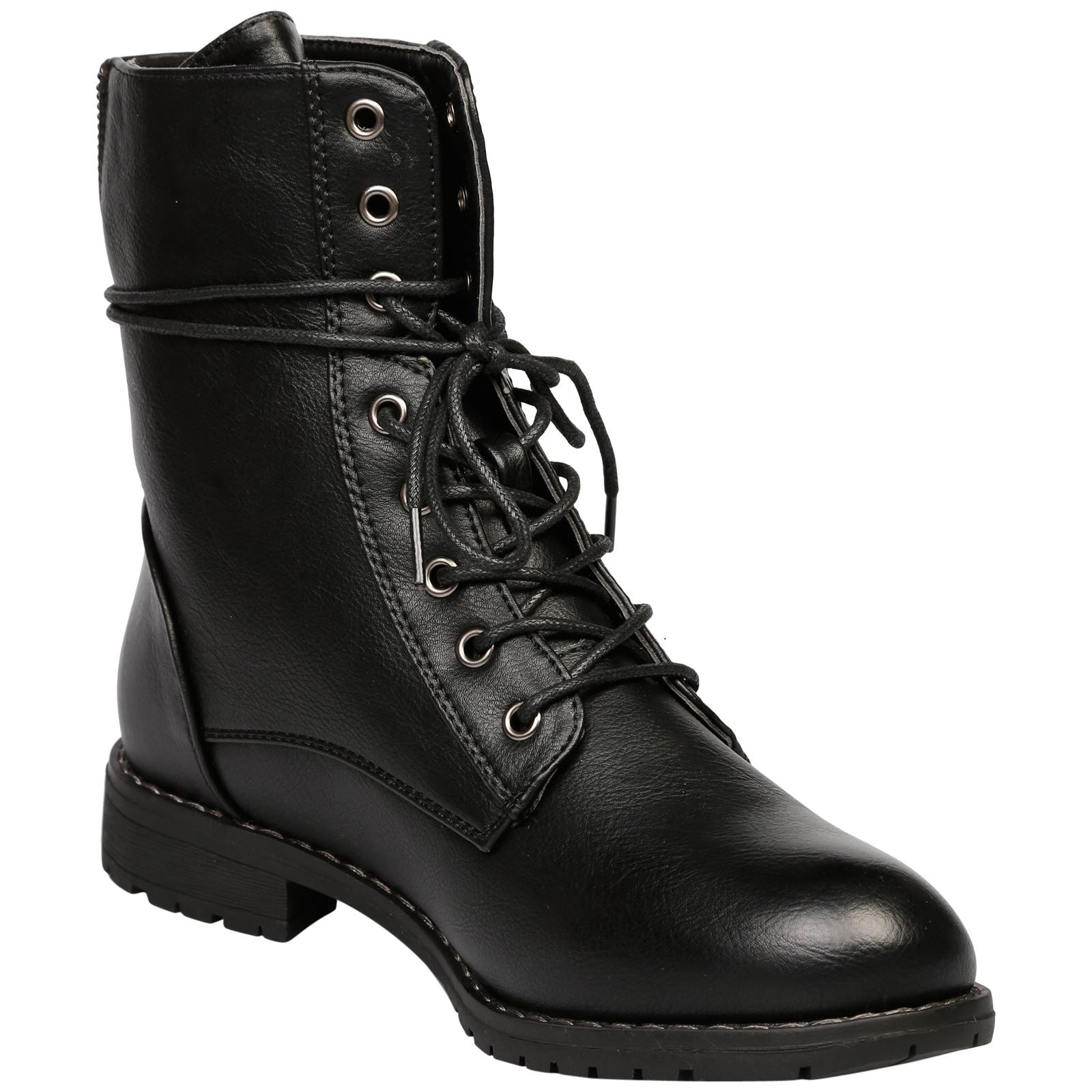 Audrina Lace Up Ankle Boots in Black Faux Leather - Feet First Fashion