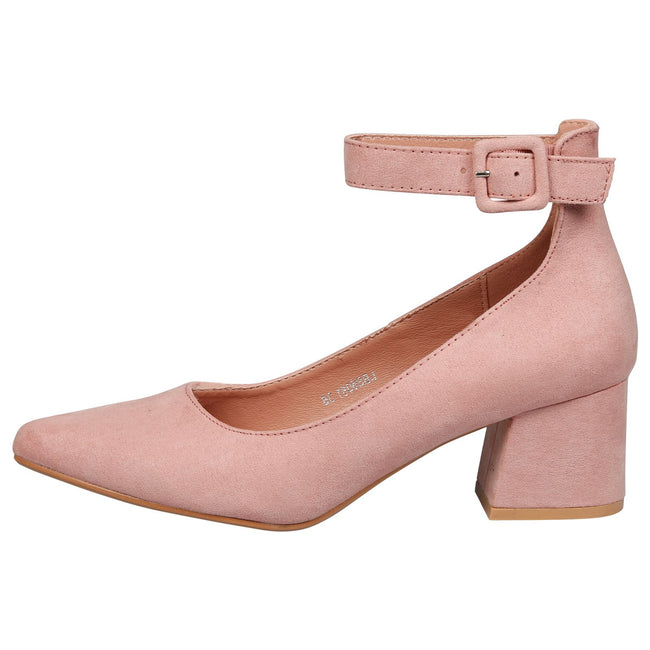 Annalise Ankle Cuff Low Heel Shoes in Pink Faux Suede