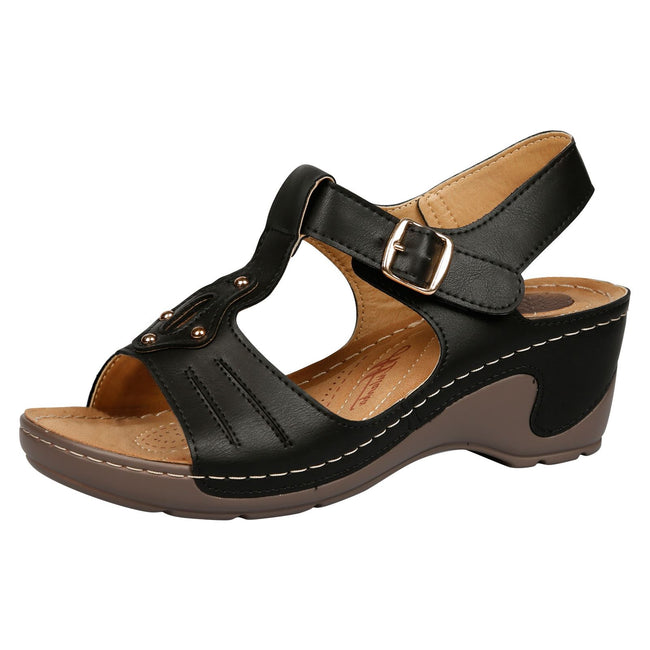 Brittany Cushioned Lightweight Wedge Heel Sandals in Black Faux Leather