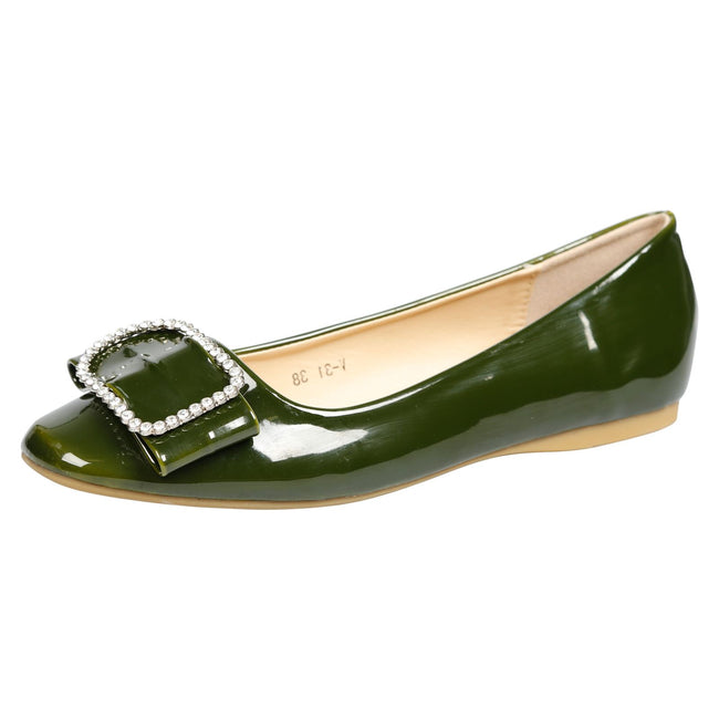 Julie Brooch Front Ballerina Flats in Green Patent