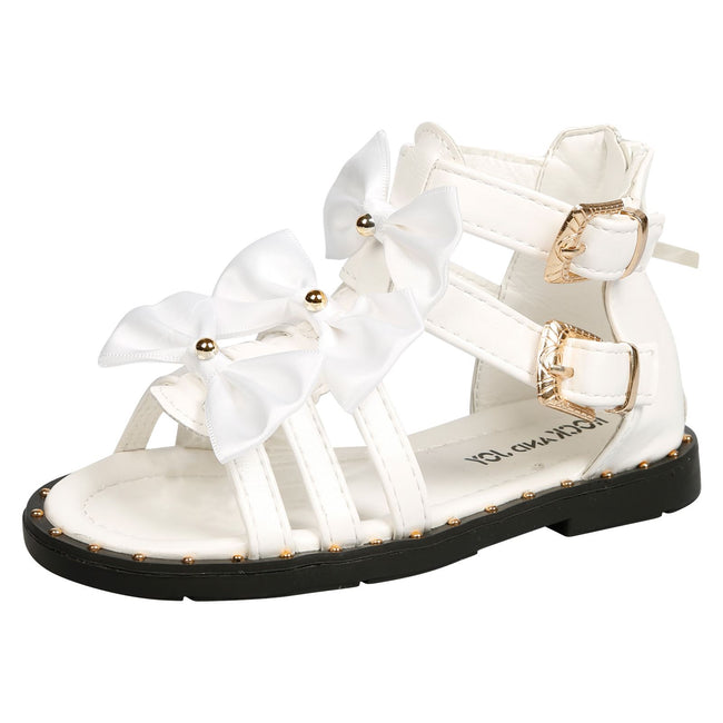 Larissa Girls Satin Bow Detail Gladiator Sandals in White Faux Leather - Feet First Fashion