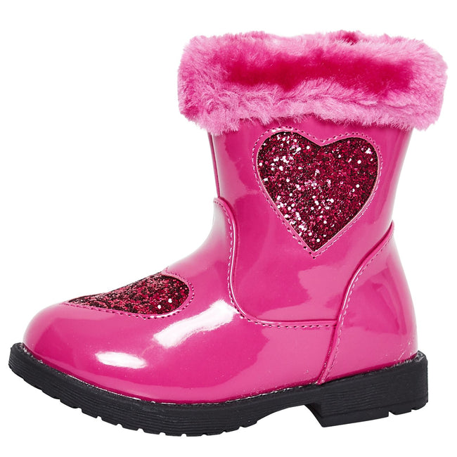 Brittany Girls Ankle Boots in Fuchsia Patent - Feet First Fashion