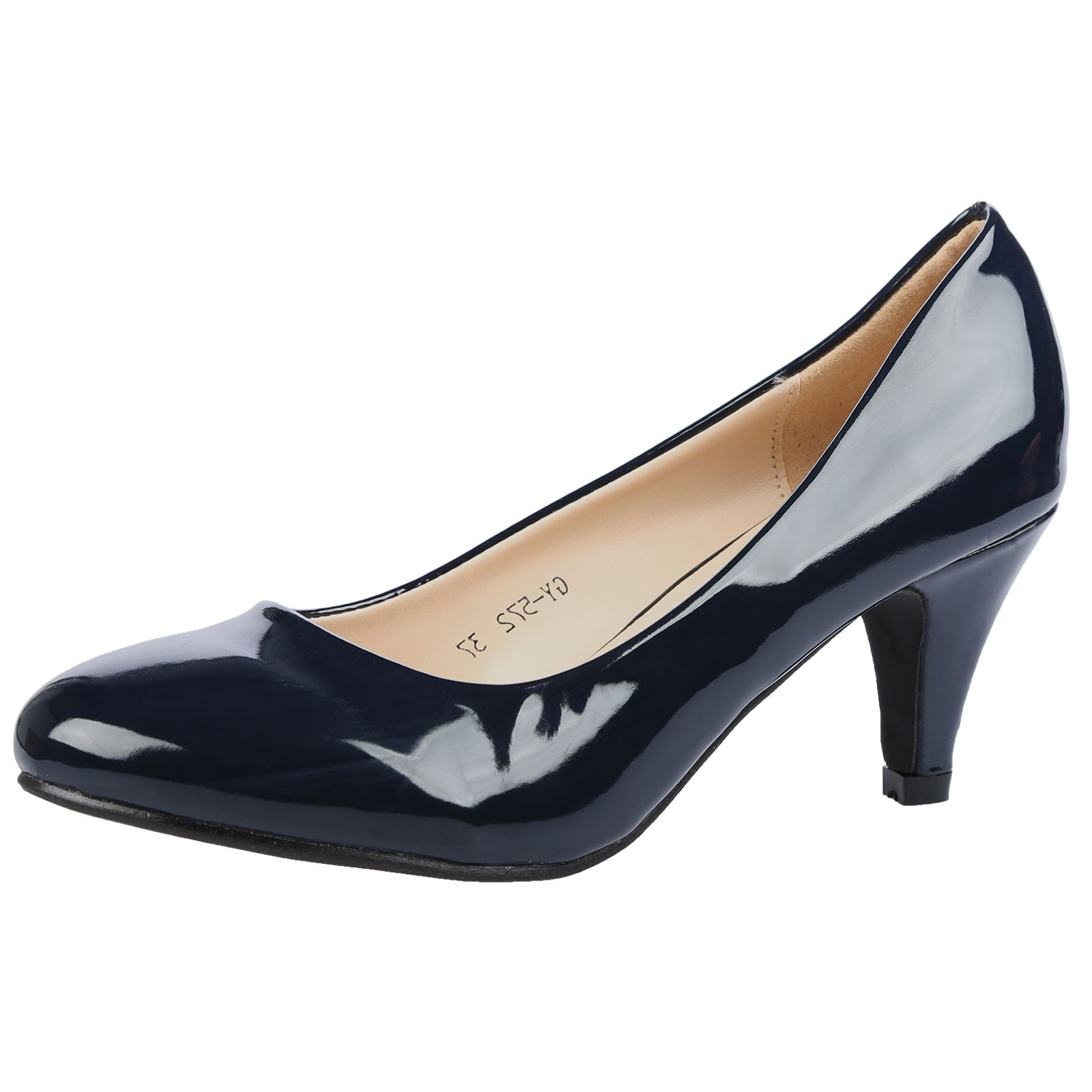 Leona Mid Heel Court Shoes in Navy Blue Patent