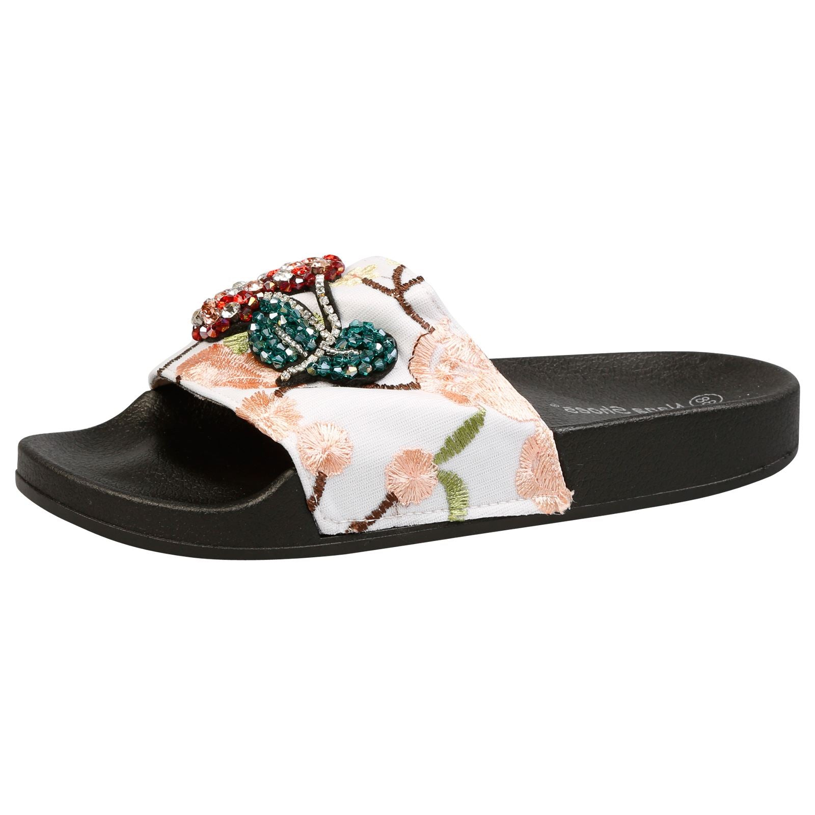 Tempest Floral Embroidered Sliders in White & Pink