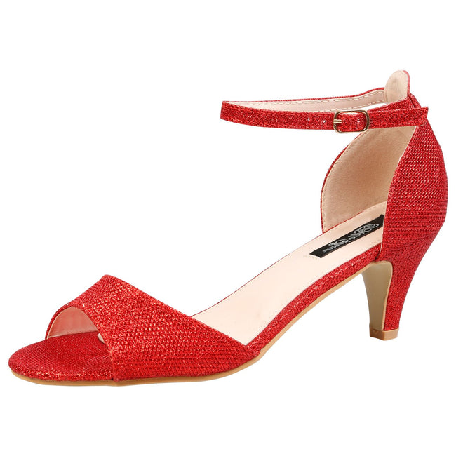 Laurie Low Heel Ankle Strap Sandals in Red Shimmer