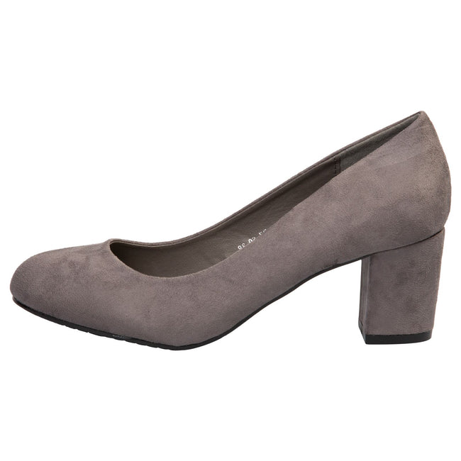 Mika Block Heel Court Shoes in Grey Faux Suede