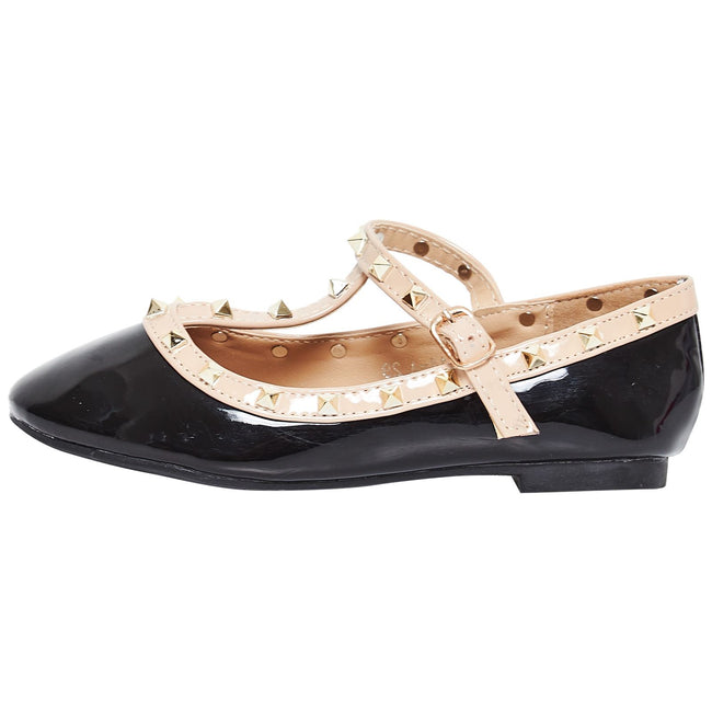 Marleigh Girls Studded T-Strap Flat Shoes in Black Patent