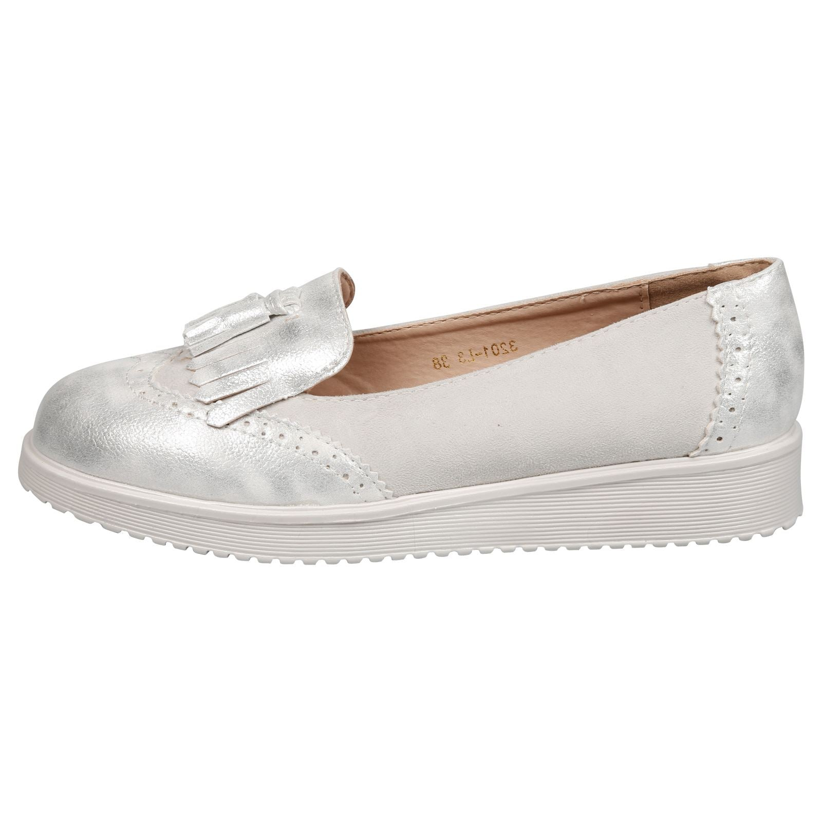Leilani Two Tone Tassel Loafers in Grey Faux Suede & Silver Shimmer