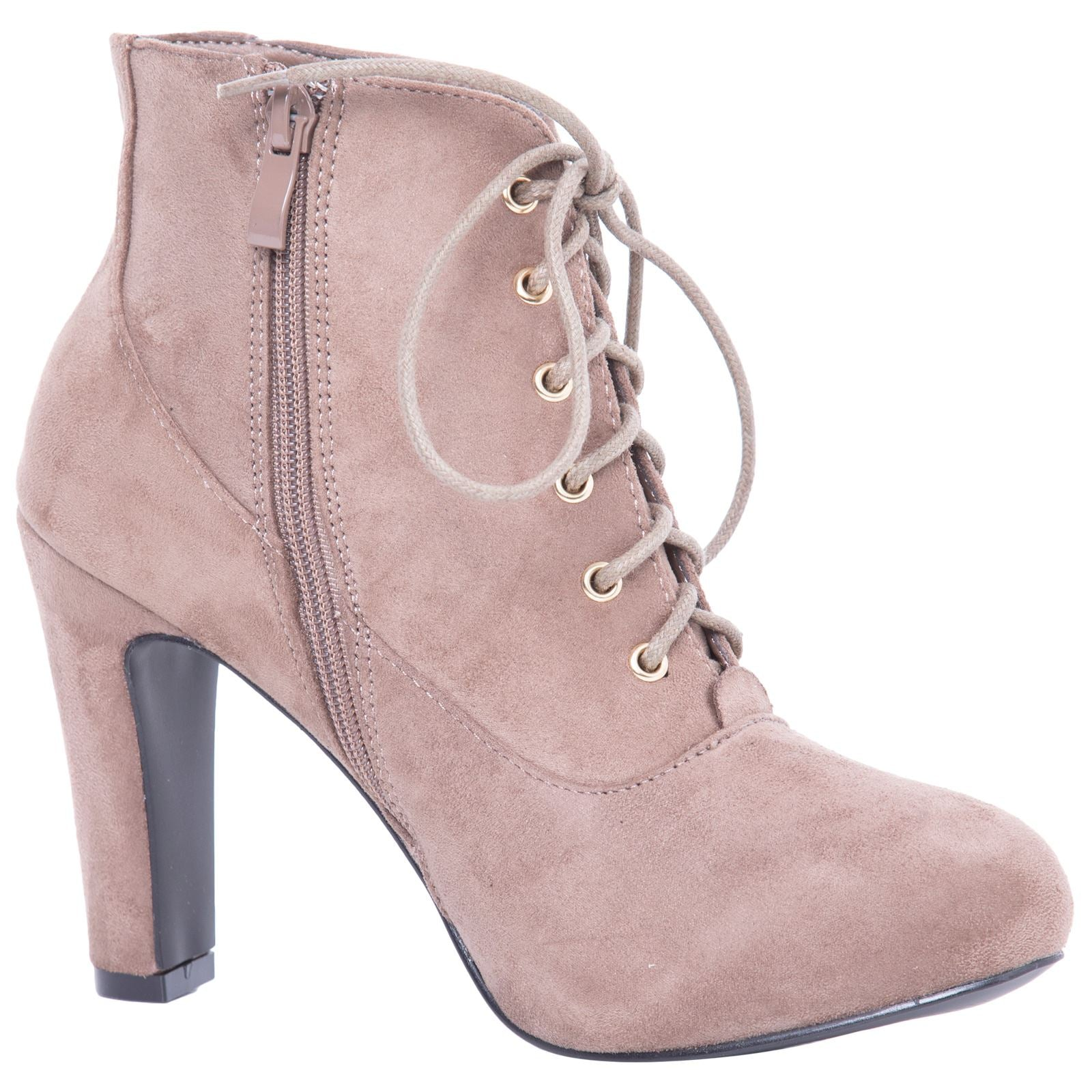 Genevieve Pointed Toe Ankle Boots in Khaki with Block Heel - Feet First Fashion