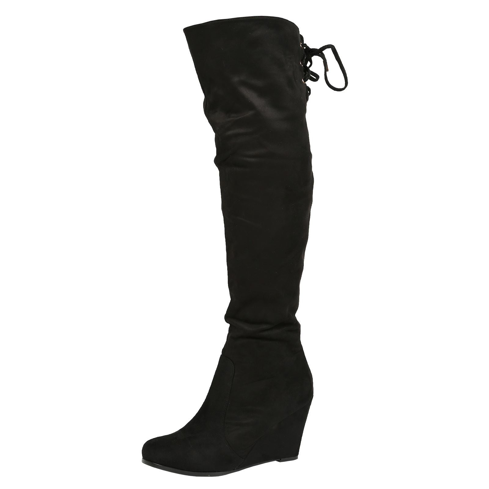 Billie Wedge Over the Knee Boots in Black Faux Suede
