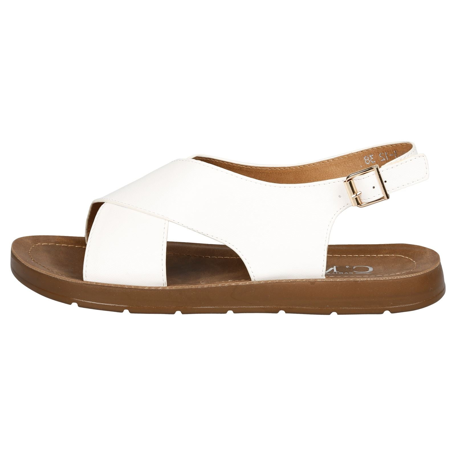 Nila Footbed Slingback Sandals in White Faux Leather