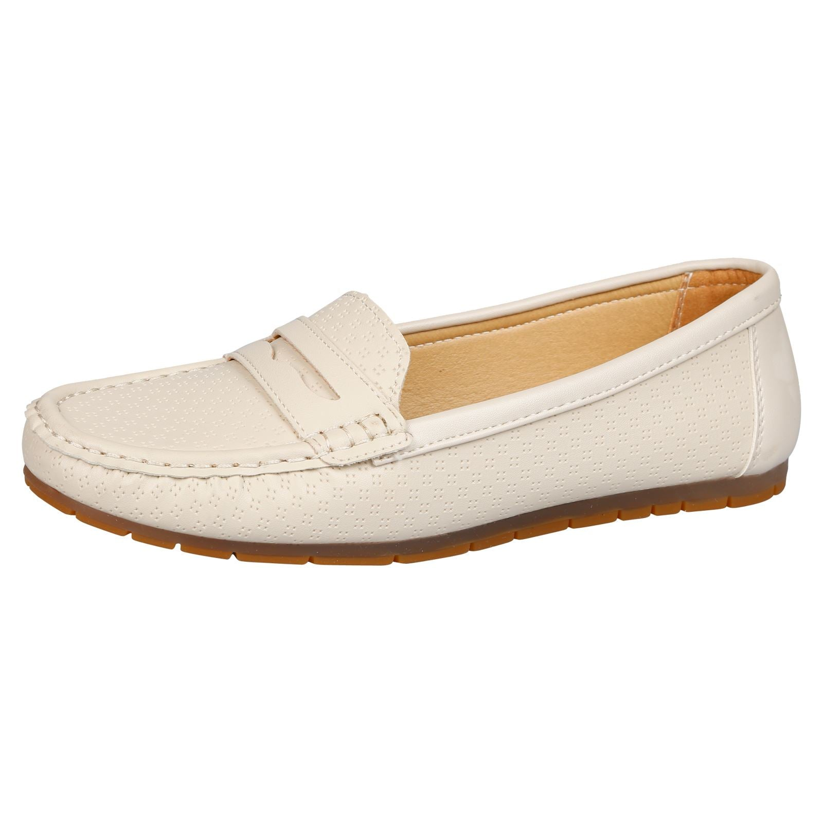 Celinda Textured Mocassins in Beige Faux Leather