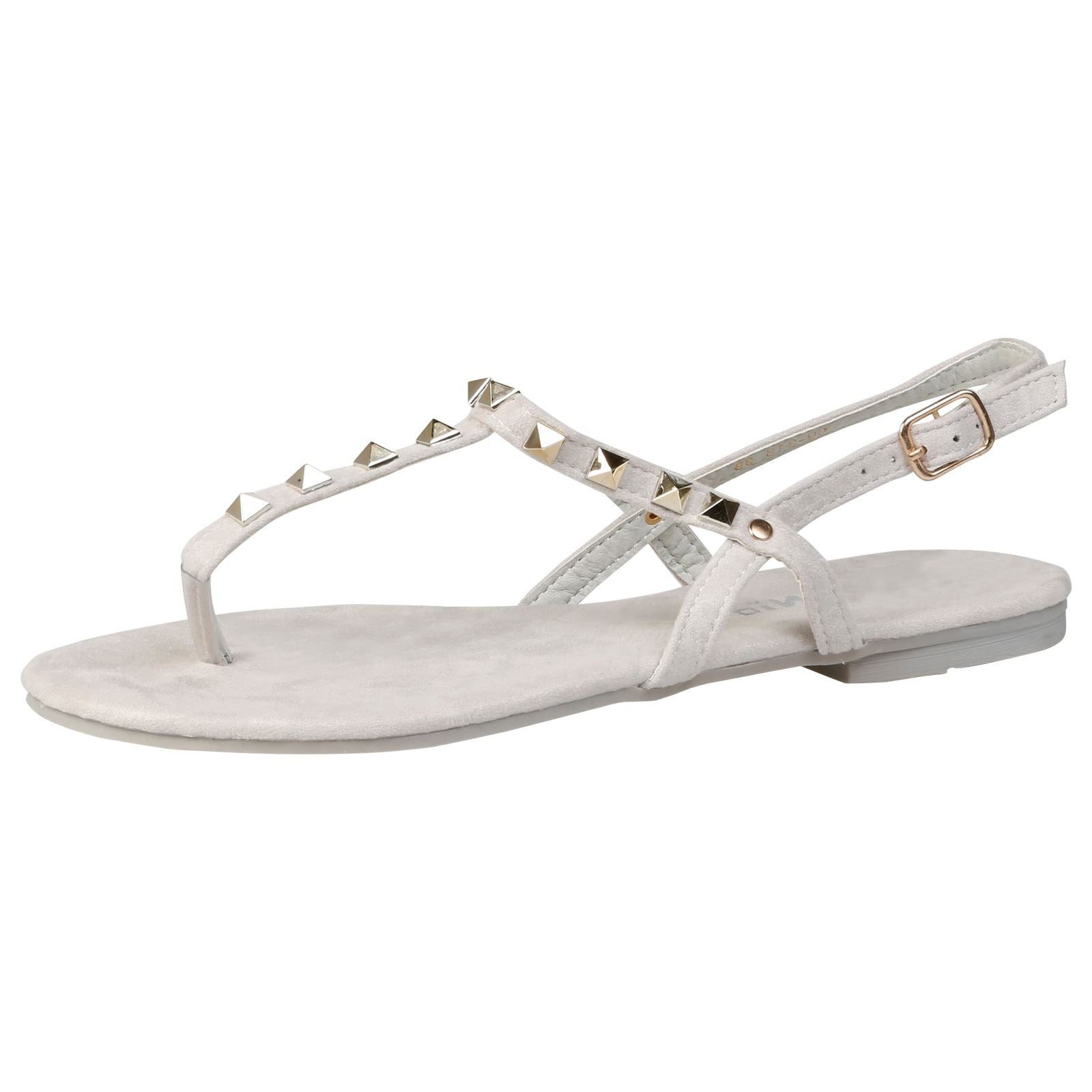 Laya Flat Studded T Bar Sandals in Grey Faux Suede