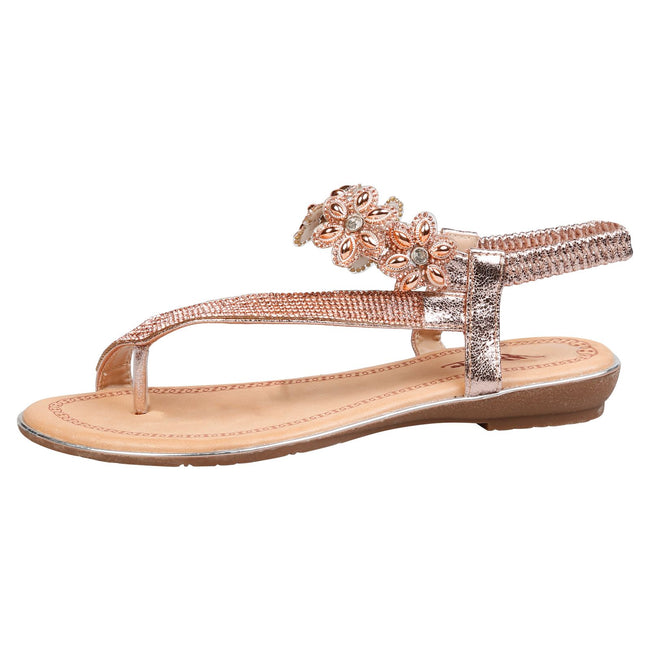 Celine Floral Diamante Sandals in Rose Gold