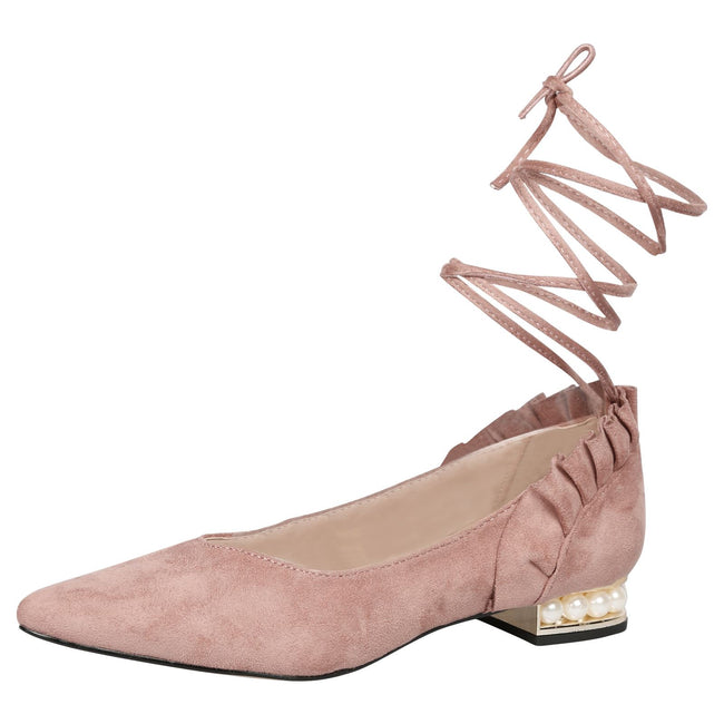 Jaelynn Lace Up Ballerina Flats in Pink