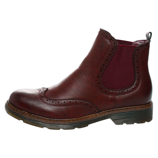 Nella Chelsea Ankle Boots in Wine Red Faux Leather