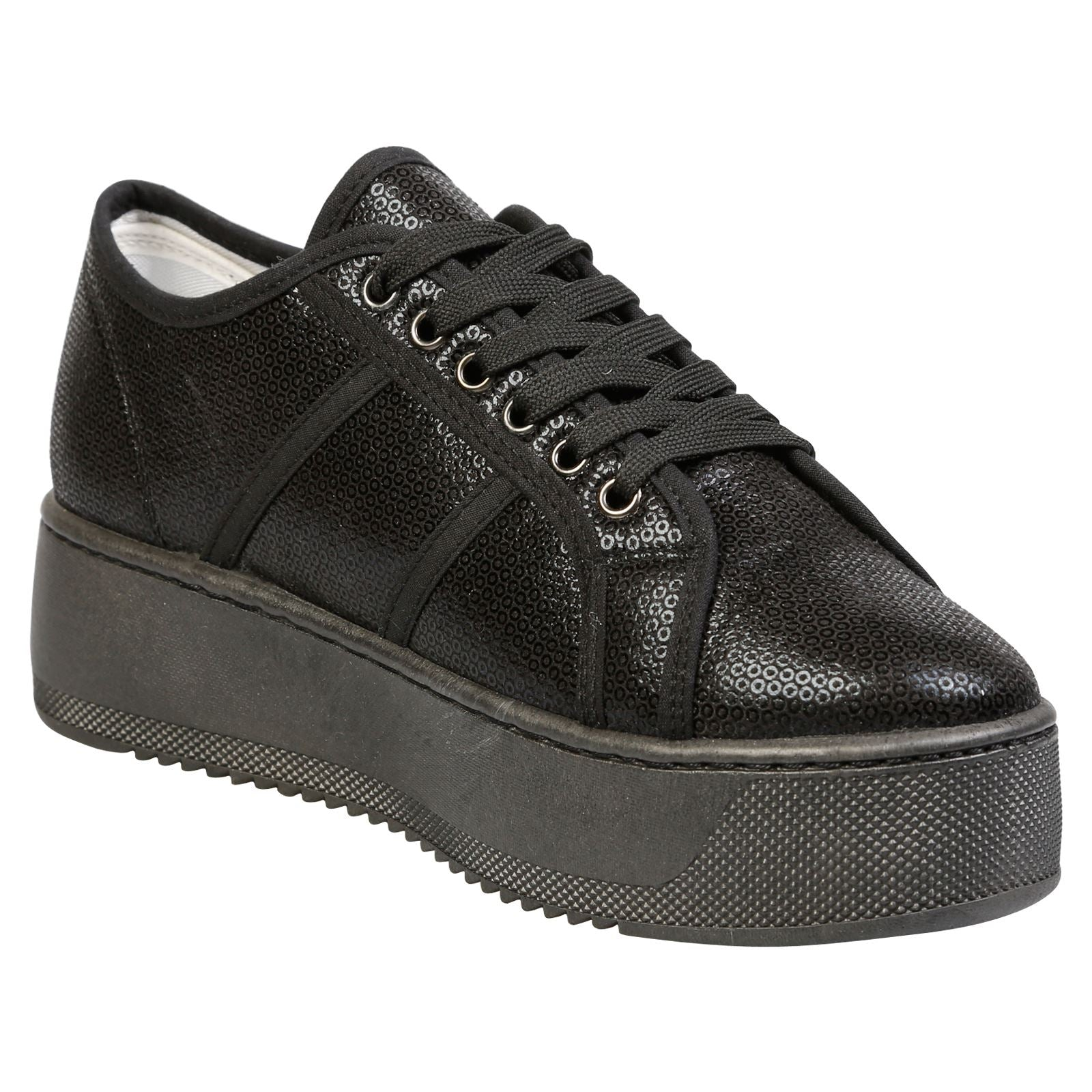 Brylee Chunky Flatform Trainers in Black