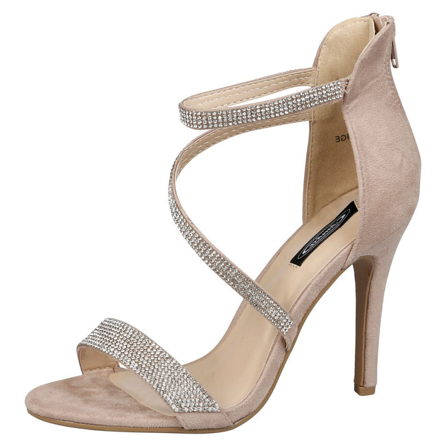 Hilda Diamante Strappy Stiletto Sandals in Beige Faux Suede