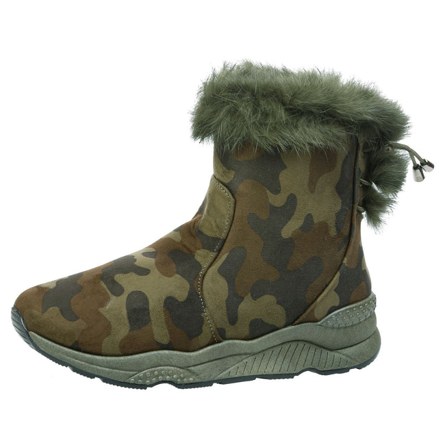 Hannah Fur Lined Ankle Boots in Camo Green Faux Suede