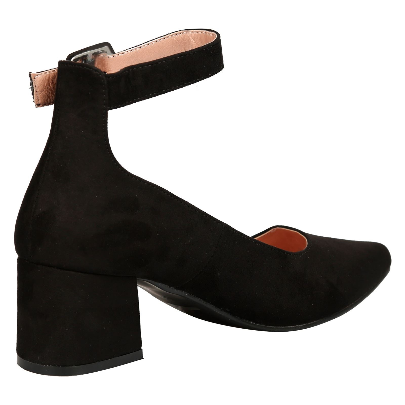Annalise Ankle Cuff Low Heel Shoes in Black Faux Suede
