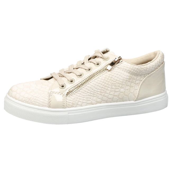 Rowena Lace Up Skater Trainers in Beige Snake