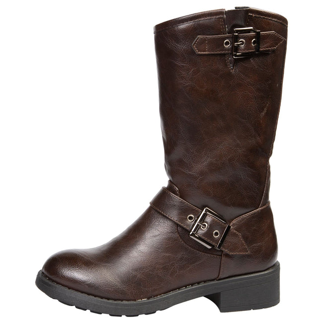 Ximena Mid Calf Biker Boots in Brown Faux Leather - Feet First Fashion