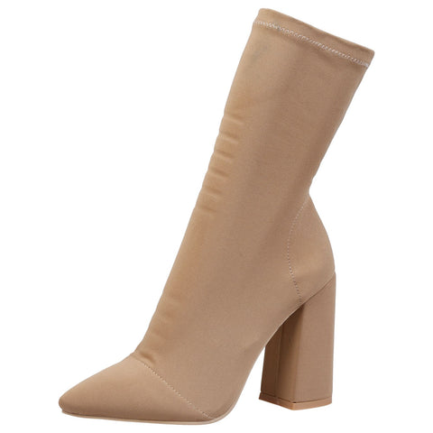 Cynthia Stilleto Heel Mid Calf Boots in Beige