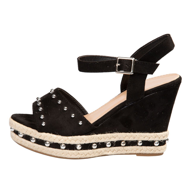 Bridie Studded Platform Sandals in Black Faux Suede - Feet First Fashion