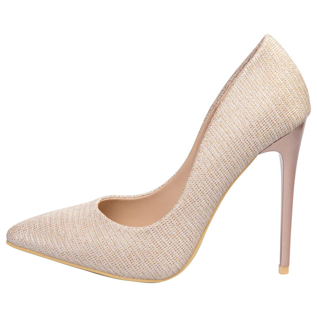 Laverne Pointed Toe Court Shoes in Rose Gold Shimmer - Feet First Fashion