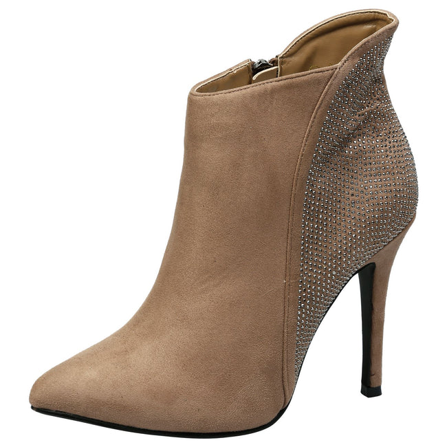 Tristana Diamante Stiletto Heel Ankle Boots in Tan Faux Suede