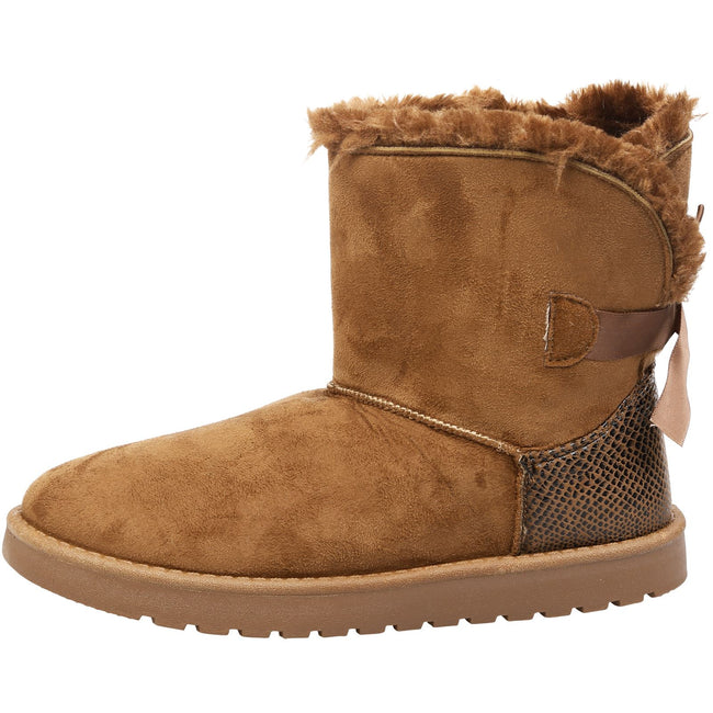 Lexi Bow Detail Snugg Ankle Boots in Camel Faux Suede