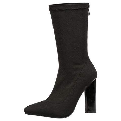 Anais Geometric Cut Out Ankle Boots in Black