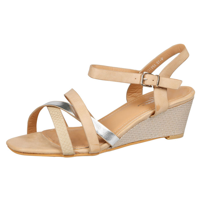 Marjorie Low Wedge Sandals in Nude Faux Leather