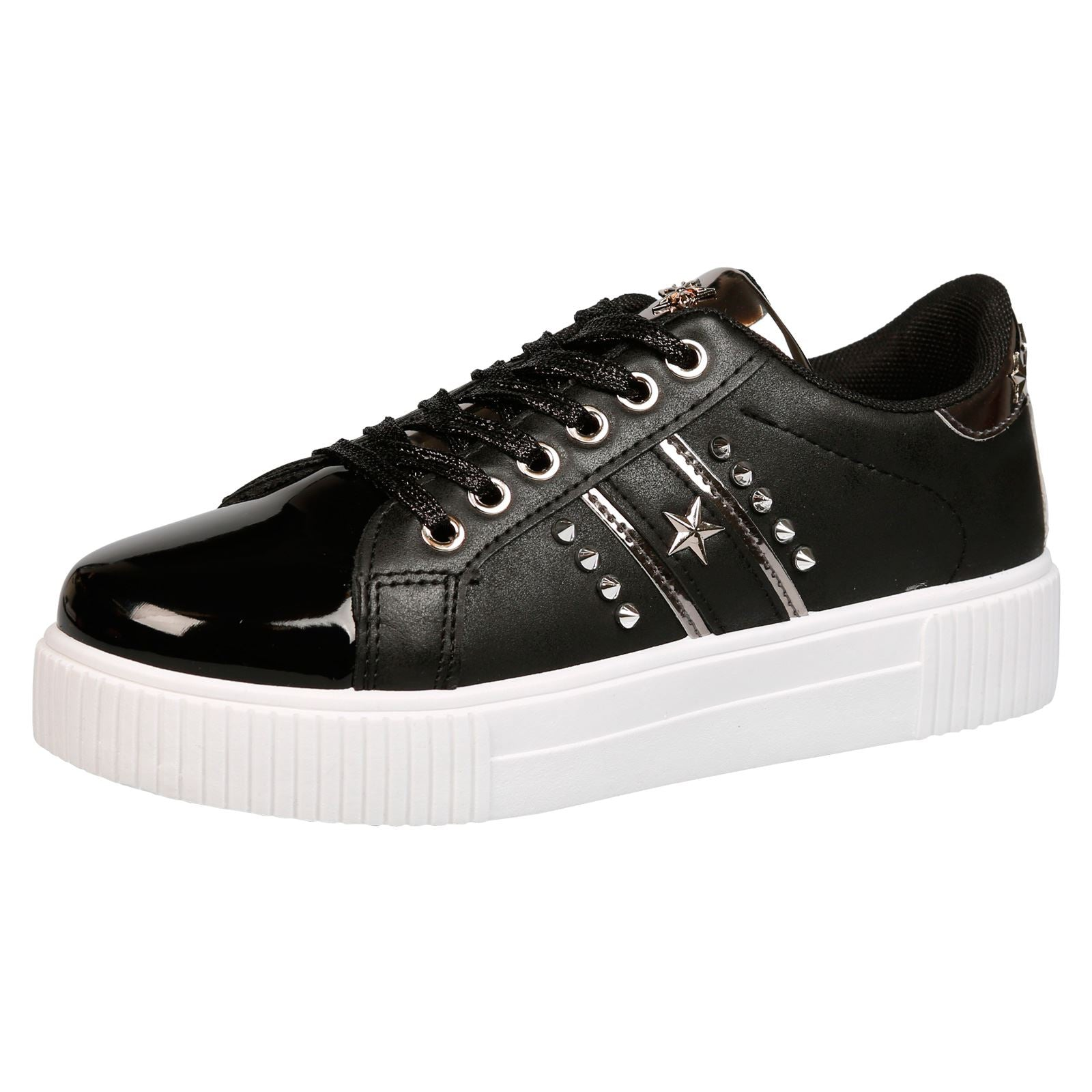 Imani Star Studded Trainers in Black Faux Leather & Patent