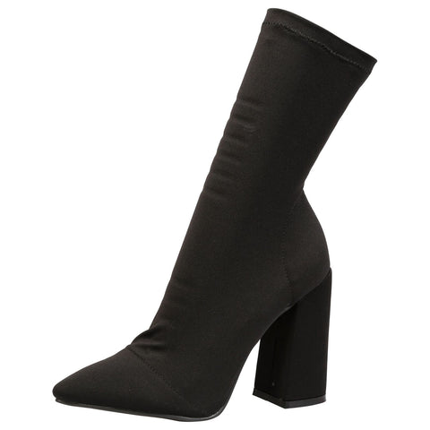 Crystal Lace Up Mid Calf Boots in Black
