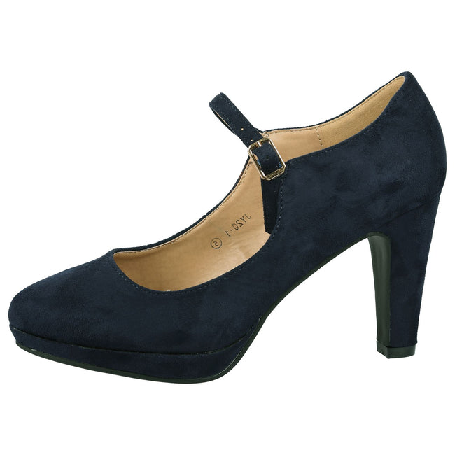 Emmeline Platform Mary Janes in Navy Blue Faux Suede