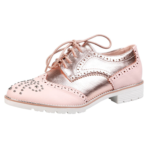 Celinda Textured Mocassins in Pink Faux Leather