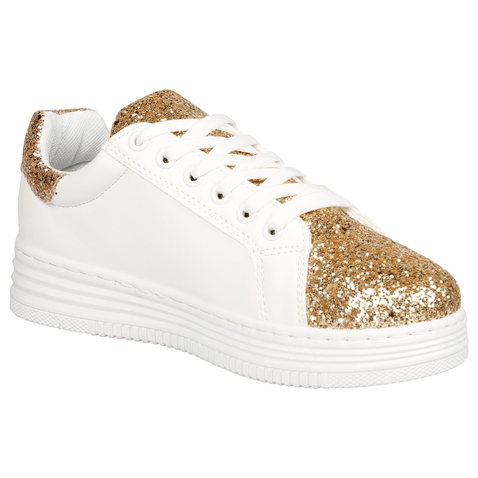 Alisha Glittery Lace Up Trainers in Gold - Feet First Fashion