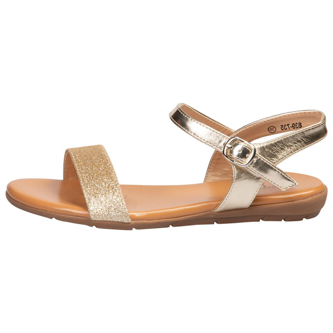Lucy Flat Glitter Sandals in Gold